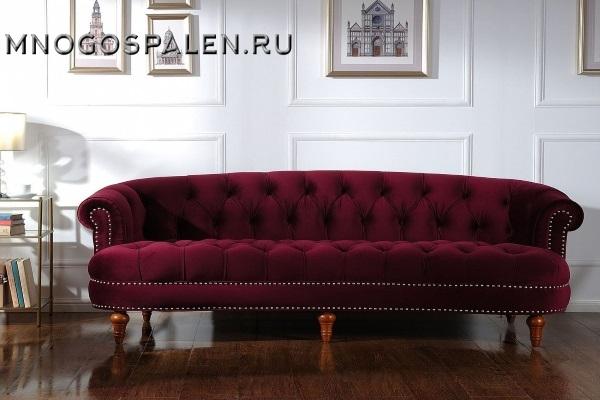 ДИВАН LA ROSA ТРЕХМЕСТНЫЙ БОРДОВЫЙ ВЕЛЮР Р купить в салоне-студии мебели Барселона mnogospalen.ru много спален мебель Италии классические современные