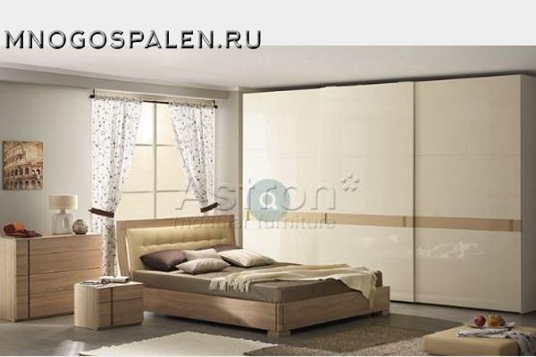 Современная глянцевая спальня Sp001 Астрон купить в салоне-студии мебели Барселона mnogospalen.ru много спален мебель Италии классические современные