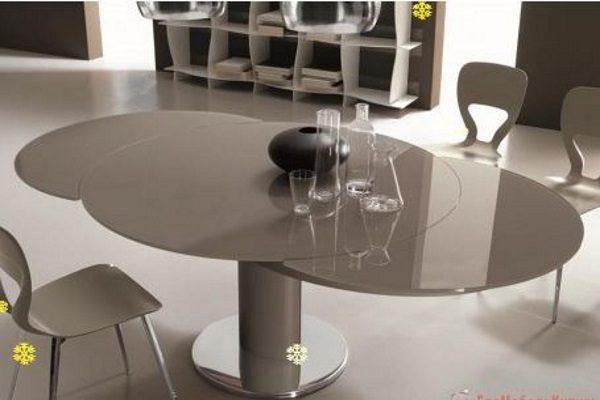 Стол MK-7522-GR трансформер стеклянный круглый серый купить в салоне-студии мебели Барселона mnogospalen.ru много спален мебель Италии классические современные